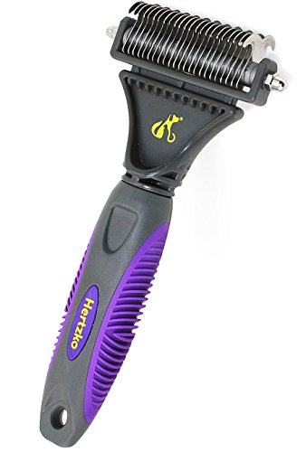 Hertzko Pet Dematting Tool Comb for Dogs and Cats - Removes Loose Undercoat, Mats and Tangled Hair- Great Grooming Tool for Brushing, Dematting and Deshedding.