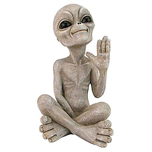 Alien - Estatuas meditating - Único Alien Meditating Yoga Escultura del espacio Escultura regalo para la decoración de la primavera al aire libre de la casa, adornos del césped inglés del Patio