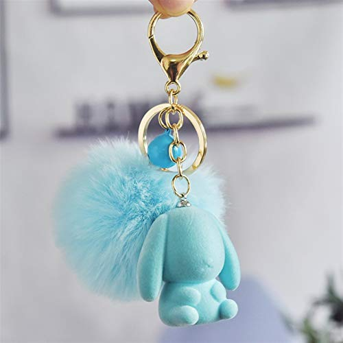jsobh Keychains for Autumn and Winter Cool Flocking Cute Rabbit Mouse Pom-Pom Key Ring for Your Favorite Animal Cartoons (Color : Sky Blue)