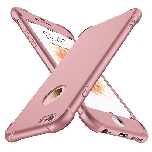ORETECH Compatibile con Cover iPhone 6 e 6s con[2XPellicola Protettiva Vetro Temperato] 360 Antiurto 2 in 1 Ultra Sottile Gomma Hard PC TPU Silicone Anti Graffio Custodia per iPhone 6 e 6s - Oro Rosa