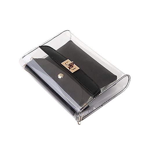 MRULIC Mode Damen Schultern Gelee Paket Brief Geldbörse Handy Messenger Bag Brieftasche(Schwarz,18.5x5x15CM)