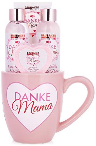 BRUBAKER Cosmetics - Danke Mama - 5-teiliges Bade- und Dusch Set - Rosen Vanille Duft - Geschenkset in Becher Tasse mit Herz Dekor