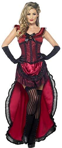 Fancy Me Mujer o Rosa Sexy Saloon Rojos Chica burleske Puff Babe burleske del Lejano Oeste Halloween Disfraz Outfit UK 8–18 Rojo 38