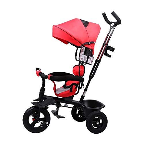GYF Triciclo, un Solo botón multifunción Plegable Triciclo for niños de Dos vías Asiento Giratorio, bebé al Aire Libre de Tres Ruedas de Bicicletas, 4 Colores, 100x74x56cm (Color : Red)