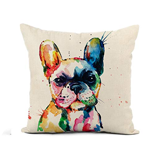 Awowee Flax Throw Pillow Cover Frenchie French Bulldog Original Watercolor of Dog Puppy Rainbow 16x16 Inches Pillowcase Home Decor Square Cotton Linen Pillow Case Cushion Cover