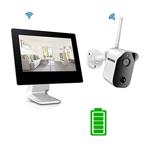 Bechol 1080P Wireless Security Camera System with Rechargeable Battery, All-in-One 4CH 100% WiFi NVR with 9 inch Touchscreen LCD Monitor, Wire-Free Bullet Camera No TF Card