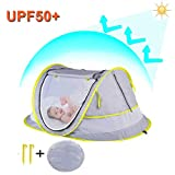 StillCool Ultralight Weight Baby Beach Tent Portable Pop Up Cot Mattress Travel Bed with 2 Pegs Folding Infant Crib Mosquito Net (UPF 50+ UV Protection)