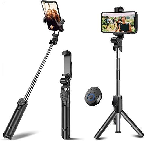 Delee Palo selfie, trípode extensible con mando a distancia inalámbrico desmontable y trípode para selfie Stick para iPhone X/iPhone 8/8 Plus, Galaxy S9/S9 Plus/S8/S8 Plus/Note8, Xiaomi, más