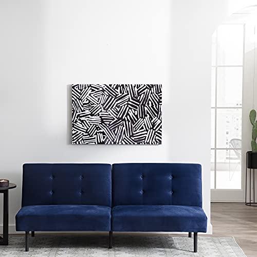 Edenbrook GilmanArmlessConvertibleFuton CompactDayBed–Supportive Sleeper Sofa Bed Sofabed, Standard, Navy Blue Velvet