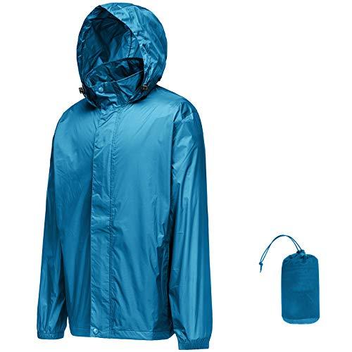 33,000ft Regenjacke Herren Leicht Wasserdicht Faltbare Regenmantel mit Kapuze Fahrrad Rain Windbreaker Windjacke Camping Outdoor