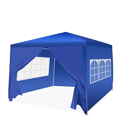 Pavillon 3x3 Wasserdicht, Faltpavillon mit Seitenteile, Draussen Partyzelt Gartenpavillon Event Shelter Strandüberdachung Festzelt - Abnehmbare Seiten - Transparente Fenster - Leicht zu Tragen - Blau
