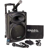 """Ibiza Sound PORT10VHF-BT Sistema de sonido portátil y autónomo de 10""""/25 cm, 500 W, color negro"""