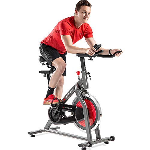 Indoor Exercise Bike Indoor Cycling Stationary Bike, Belt Drive with Heart Rate, Adjustable Seat and Handlebar, Tablet Holder, Stable Quiet and Smooth for Home Cardio Workout
