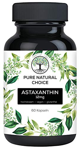 Pure Natural Choice Astaxanthin 12 mg vegan, hochdosierte TÜV laborgeprüfte Qualität, inkl. Oxidationsschutz, 60x Kapseln