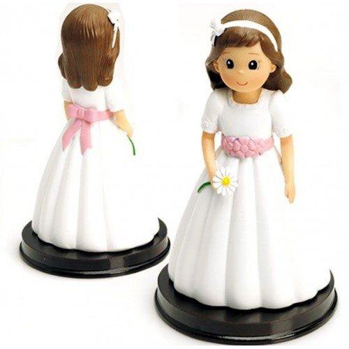 Figura comunión niña tarta GRABADA muñeca PERSONALIZADA para pastel