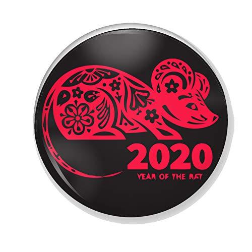 Gifts & Gadgets Co. Untersetzer, Motiv Chinesische 2020, Motiv Neujahr der Ratte, 90 mm, rund, gummiert, Weiß
