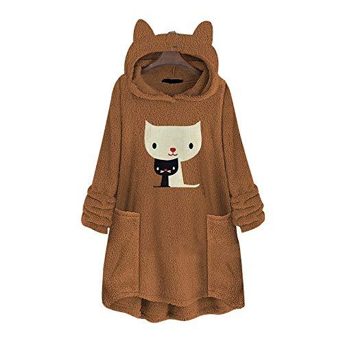 Xmiral Plüsch Hoodies Damen Katzenohr Pullover Mit Taschen Stickerei Katzenmuster...
