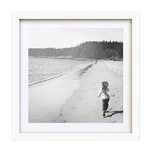 PF&A Weiß Quadratischer Bilderrahmen - 25x25 cm mit Passepartout für 20x20 cm – Glas Scheibe/Breite des Rahmens 2 cm