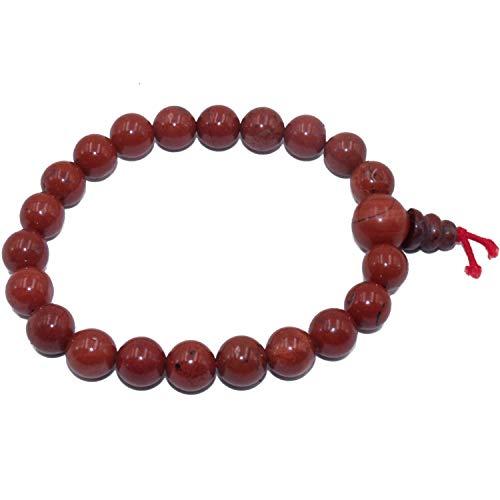 Pulsera en Jaspe Rojo Natural Piedras + caja de regalo, Redondas de 8 mm para Hombres y Mujeres - elástico Resistente - Mala Budista Tibetano