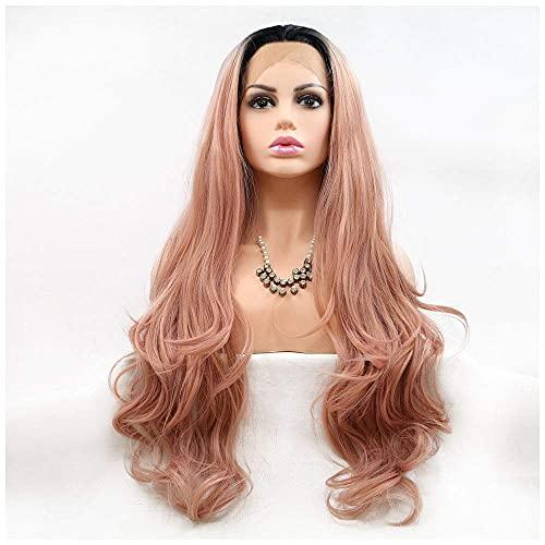 FXBFAG Peluca de Fibra química de Encaje Frontal Mujer Larga Rosa Oro gradiente de paño Oscuro raíz Natural Rizado Adecuado para Vestido de Halloween Hembra Blanco