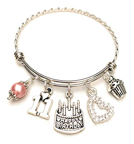 11th BIRTHDAY Bracelet, 11th Birthday Charm Bracelet, Granddaughter Daughter Gift Idea, Eleventh Birthday Gift, 11 Year Old Birthday Bangle