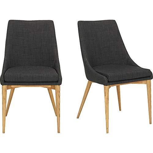 Meubletmoi BYBY 6312 - Set di 2 sedie in tessuto grigio scuro con base in frassino massiccio senza braccioli e cuscino per seduta sfoderabile con zip