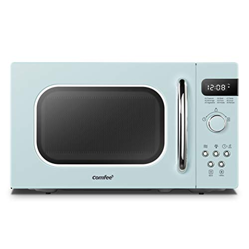 COMFEE' Retro Countertop Microwave Oven with Compact Size, Position-Memory Turntable, Sound On/Off Button, Child Safety Lock and ECO Mode, 0.7Cu.ft/700W, Pastel Green, AM720C2RA-G