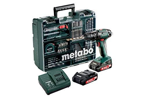 Metabo Akku-Schlagbohrmaschine SB 18 Set 18 V- inkl. 2 CAS Li-Ion Akkupacks (18V/2Ah); Ladegerät; Zubehör-Set und Transportkoffer - 602245880