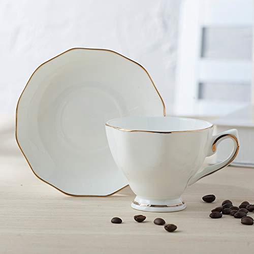 Juegos de tazas y platos Estilo europeo Superior Marfil Blanco Cerámica Hueso China Porcelana Drinkware Juego de café con plato de taza y cuchara de oro rosa