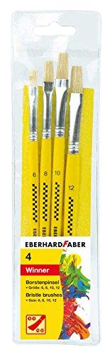 Eberhard Faber 579923 - Winner Borstenpinsel, Set mit 4 Pinselgrößen, Flachpinsel für viele Zeichen- und Maltechniken auf unterschiedlichen Maluntergründen