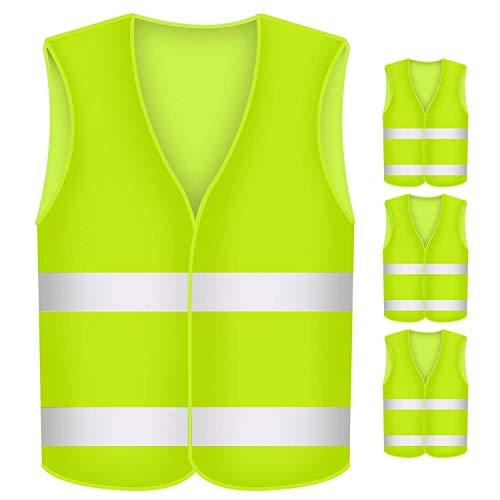 BUZIFU Warnwesten 4 Stück Auto Gelb Wahrnweste Unisex Sicherheitsweste 360 Grad Reflektierende Pannenwesten Unfallweste Waschbar Reflektorweste Warnschutzweste für Erwachsene Auto PKW KFZ Motorrad