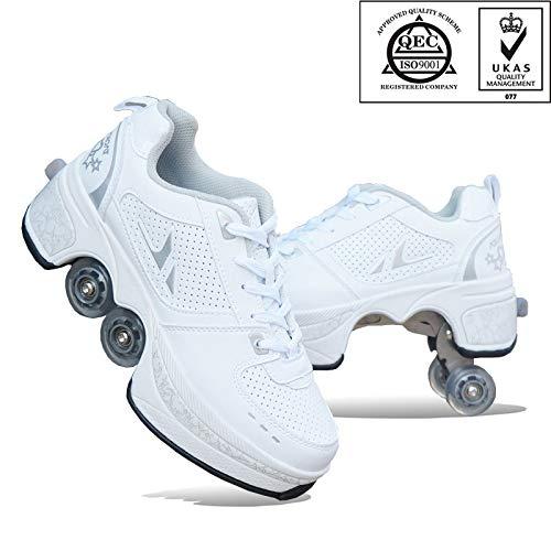 FGERTQW Multifunktionale Deformation Schuhe Quad Skate Rollschuhe Skating Outdoor Sportschuhe Für Erwachsene,White-40