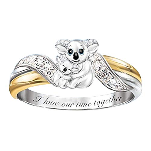 Womens Bear Ring I Love Our Time Together Fashion Bear Heart Rings for Women Girls Love Expression Diamond Lettering Female Ring Women Girls Mother Day Gift Jewelry Size - 8
