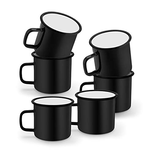 TeamFar Coffee Mug Set of 6 12 oz Enamel Mug Black Tea Camp Drinking Cups Mugs Vintage for Camping Picnic Home Use Non Toxic Portable Classic Design Easy Clean