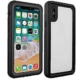 LAANCOO Teléfono Caja Protectora Compatible con el iPhone X/XS absorción de Choque Impermeable de la Caja Negro Claro
