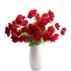 "cn-Knight Artificial Poppy Flower 12pcs 21"" Long Stem Silk Papaver with 2 Blossoms for Veteran Day Home Decor Centerpiece Housewarming Wedding DIY Bridal Bouquet(Red)"