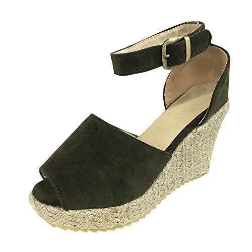 Minetom Mujer Sandalias Alpargatas Chancletas De Tacón Alto Plataforma Cuña Playa Zapatos De Verano Hebilla Espadrille Verde EU 34