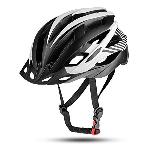 MOKFIRE Kids Bike Helmet for Boys Girls with Detachable Visor& Rear Light,CPSC Certified Bicycle Helmet for Mountain Road Cycling,Adjustable Size Youth Cycle Helmets (21.25-22.44inch) - Black White