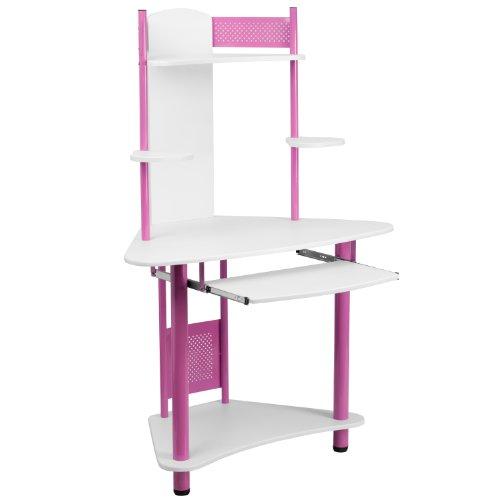 Flash Furniture Pink Corner Computer Desk with Hutch