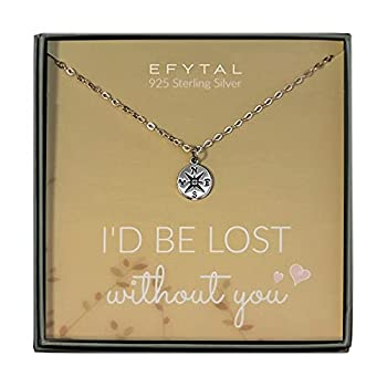 EFYTAL Necklace Gift for Girlfriend / Wife Sterling Silver Cute I Love You Compass Heart Jewelry For Her I d Be Lost Without You Valentines Day Romantic Anniversary Birthday Gift Ideas