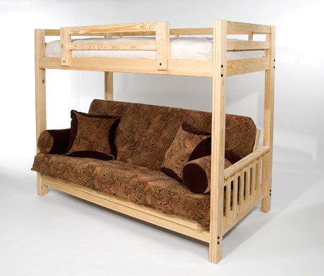 """Hot Sale The Ultimate Space Saver: Solid Wood, American-made and Sleeps 3! --- Queen Futon Bunk Bed - Complete w/ Two 9"""" Futon Mattresses - Eco-friendly"""