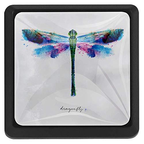 TIKISMILE Vivid Colorful Dragonfly Crystal Glass Square Drawer Knobs and Pulls Knobs Handles for Kitchen Furniture Door Drawer Cabinet Dresser Closet Wardrobe Cupboard Bathroom,3 Pack