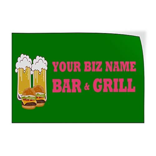 Jeartyca Calcomanías de vinilo para puerta de bar y parrilla, diseño de cerveza, color verde, 20 x 30 cm, decoración de metal, letreros de metal para exteriores, divertido cartel decorativo para pared