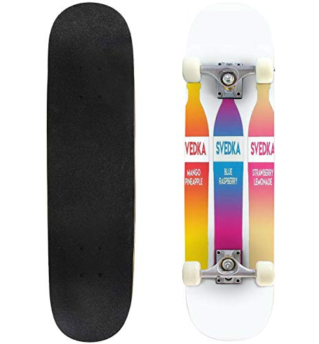 "Cuskip Svedka Flavors Skateboard Complete Longboard 8 Layers Maple Decks Double Kick Concave Skate Board, Standard Tricks Skateboards Outdoors, 31""x8"""