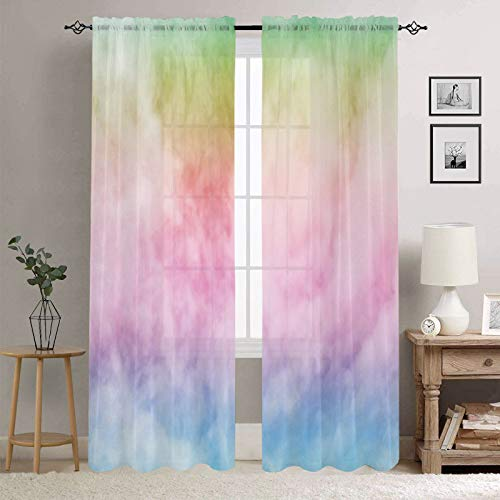 Manerly Sheer Curtains for Bedroom Living Room, Rainbow Color Sky with Fluffy Clouds Print Window Curtains 54W x 84L Inches, 2 Panels