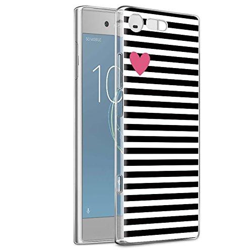 Cover Sony Xperia XZ1 Compact, Eouine Ultra Slim Protective Cover Silicone, Morbido Antiurto 3d Cartoon Pattern Gel Bumper Case Custodia in TPU per Sony Xperia XZ1 Compact Smartphone (Stripe nero)