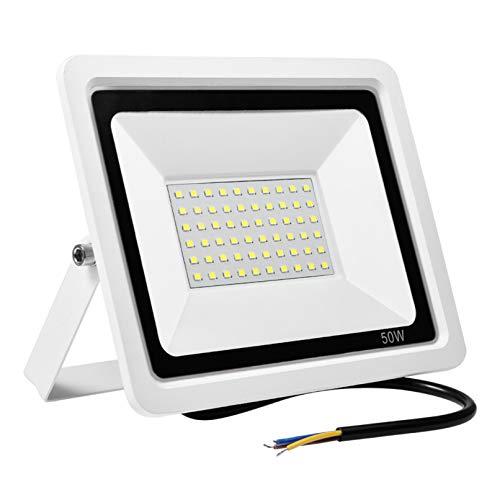 BAM - Store Proiettori a LED 50W Slim Slim Sicurezza luci IP66 Impermeabile Esterna Luce di Lavoro 6000k Fresco Lampada da Parete Bianca per Giardino Garage Patio,1 Pack