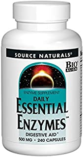 Source Naturals Essential Enzymes 500mg Bio-Aligned Multiple Enzyme Supplement Herbal Defense for Daily Digestive Health - Supports A Strong Immune System - 240 Capsules
