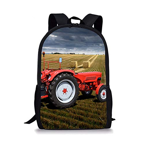 3D Farm red Tractor and Straw Bale Pattern Printed School Bags, Backpacks School Bags for Teenagers Canvas Backpack
