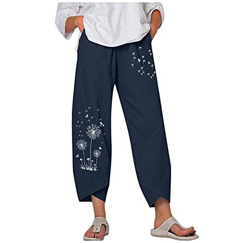 Kcocoo Women's Capri Pants Loose Cropped Wide Leg Pants Dandelion Comfy Elastic Waist Lightweight Trousers with Pockets(Blue,XXL)